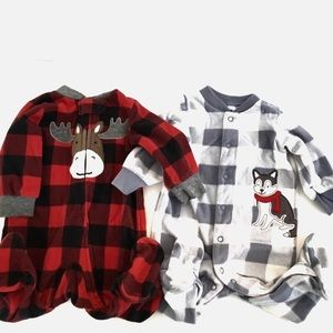 3/$25 Two Carters Fleece Footed Buffalo Check PJs